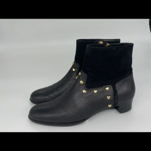Love Moschino Leather Booties Gold Heart Studs